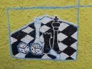 Schach, in der Antike noch mit Würfeln gespielt (Fresko, Insel Thassos, 89 v.Chr.)